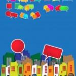 City skyline with speech bubbles — Stock Vector