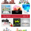 Big set of city skyline — Stock Vector