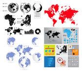 Big set of vector World map — Stock Vector