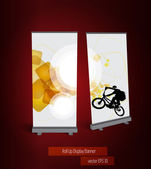 Display with cyclist banner — Stock Vector