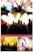 大套音乐党的海报 — 图库矢量图片