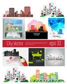 Big set of city skyline — Stock Vector
