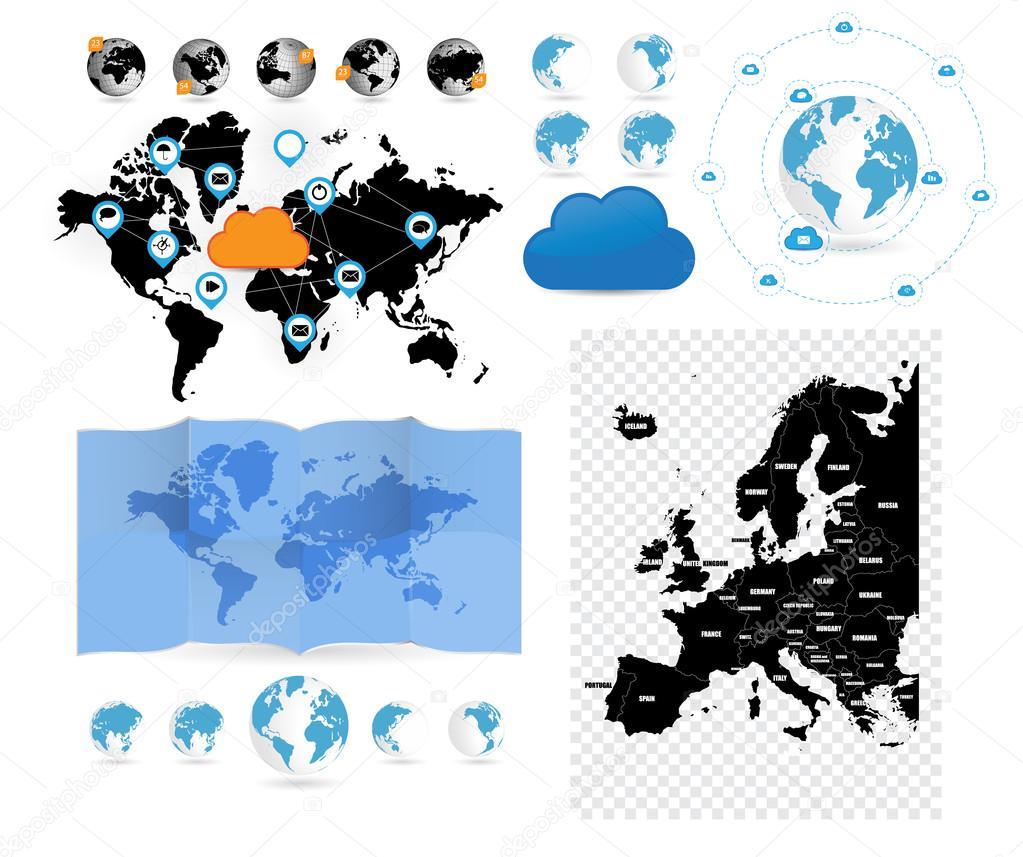 大套的世界地图 — 图库矢量图片#45853493