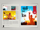 Magazine layout with urban design — Cтоковый вектор