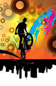 BMX cyclist performing stunt — Stock Vector
