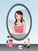 девушка делает ее макияж — Cтоковый вектор