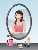 Girl doing her makeup — Stockvector