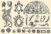 руки drawn векторных ретро украшения — Cтоковый вектор