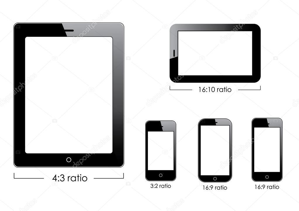 Set of vector blank generic tablet pc and smartphones. — Image vectorielle #13534514