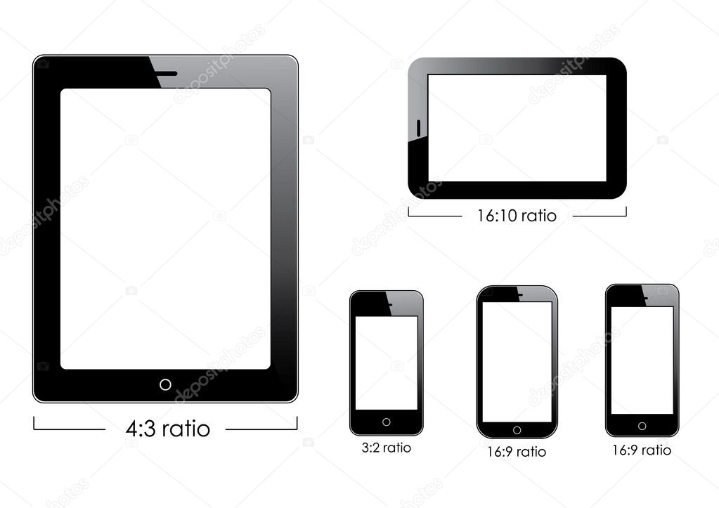 Set of vector blank generic tablet pc and smartphones.  Stockvectorbeeld #13534514