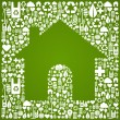 Green house over eco icons background — Stock Vector #10130493