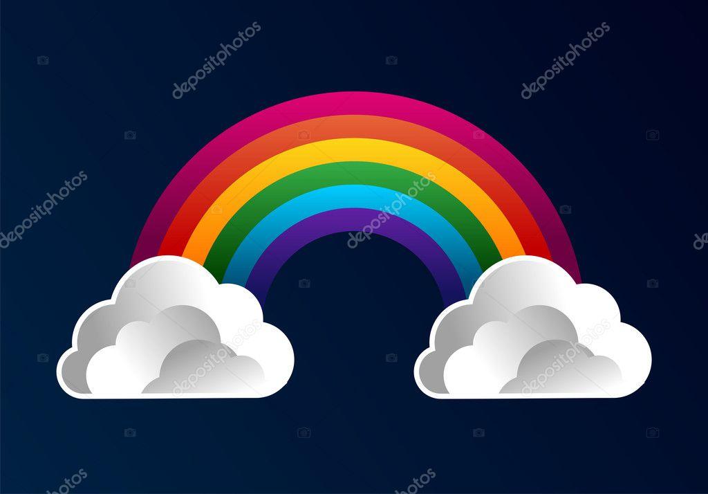 云朵卡通背景与彩虹
