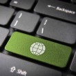 Go green globe keyboard key, ecology background — Stock Photo