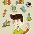 Royalty-Free Stock Vector Image: Back to School cartoon kid