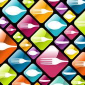 Sfondo icone di stoviglie gourmet — Vettoriale Stock