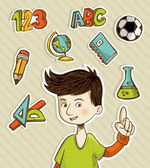 Back to School cartoon kid — Stock Vector