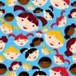 Diversity children faces pattern — Stock Vector