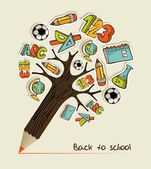 Back to School pencil tree — Vector de stock