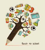 Geri okul kalem ağaç — Stok Vektör