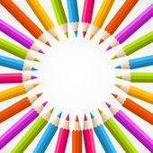 Powrót do szkoły ołówek tęcza koło — Wektor stockowy