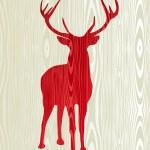 Christmas wooden reindeer silhouette — Stock Vector