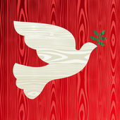 Christmas wooden dove of peace — Stock Vector