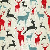 圣诞木制驯鹿图案 — 图库矢量图片