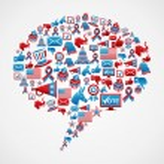 Social media US election icons concept — Stock Vector