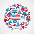 US elections icons circle — Stock Vector