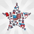 USA elections icon set in star — Stock Vector