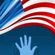 USA elections hands with waving flag — Stock Vector