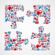 Stock Vector: USA elections icons puzzle piece