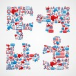 USA elections icons puzzle piece — Stock Vector