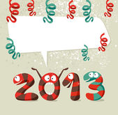 Cartoon creatures Happy New Year 2013 — Stock Vector