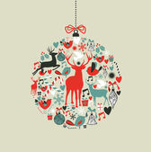 Christmas icons in bauble shape — Vettoriale Stock