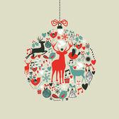Iconos de navidad en forma de adorno — Vector de stock