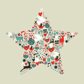 Tvar hvězdy vánoční ikony — Stock vektor