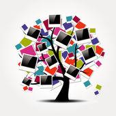 Memory family tree with polaroid photo frames — Stock Vector