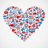 US elections icons heart shape — Stock Vector