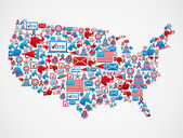 USA elections icons map — Stock Vector