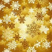 Gold Christmas snowflakes pattern — Stock Vector