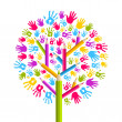 Stock Vector: Diversity education Tree hands