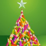 Design and art pencils Christmas tree — Stock Vector