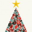Christmas multimedia music tree greeting card — Stock Vector