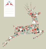 Christmas icons in jumping deer — Vector de stock