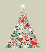 Christmas icons pine tree — Vetor de Stock
