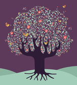 Müzikal bahar zaman ağaç — Stok Vektör