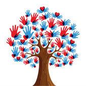 Mãos de árvore isolada de diversidade — Vetorial Stock