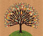 Diversity Tree hands over wooden pattern — Stock Vector