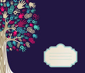 Diversity Tree hands greeting card — Stock Vector